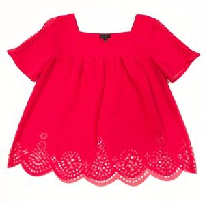 Jessica Simpson Sheer Red Peasant Top Scalloped